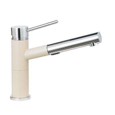 Alta Compact Single-Handle Pull-Out Sprayer Kitchen Faucet with 1.8 GPM in Biscotti and Chrome Mix
