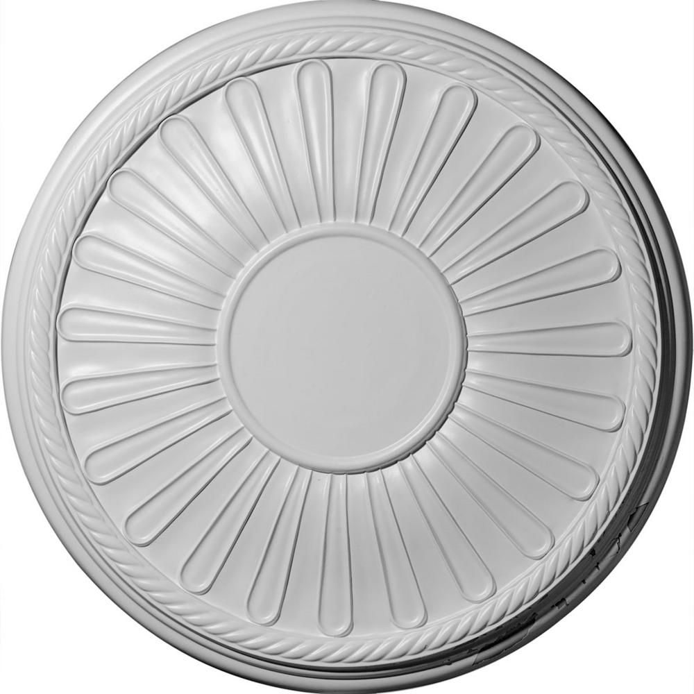 Ekena Millwork 19-7/8 in. x 1-1/4 in. Leandros Urethane Ceiling Medallion (Fits Canopies upto 6-3/8 in.) Hand-Painted Frost