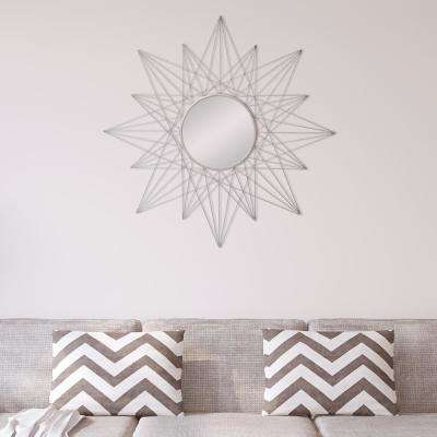 Geometric Sunburst Round Silver Decorative Mirror