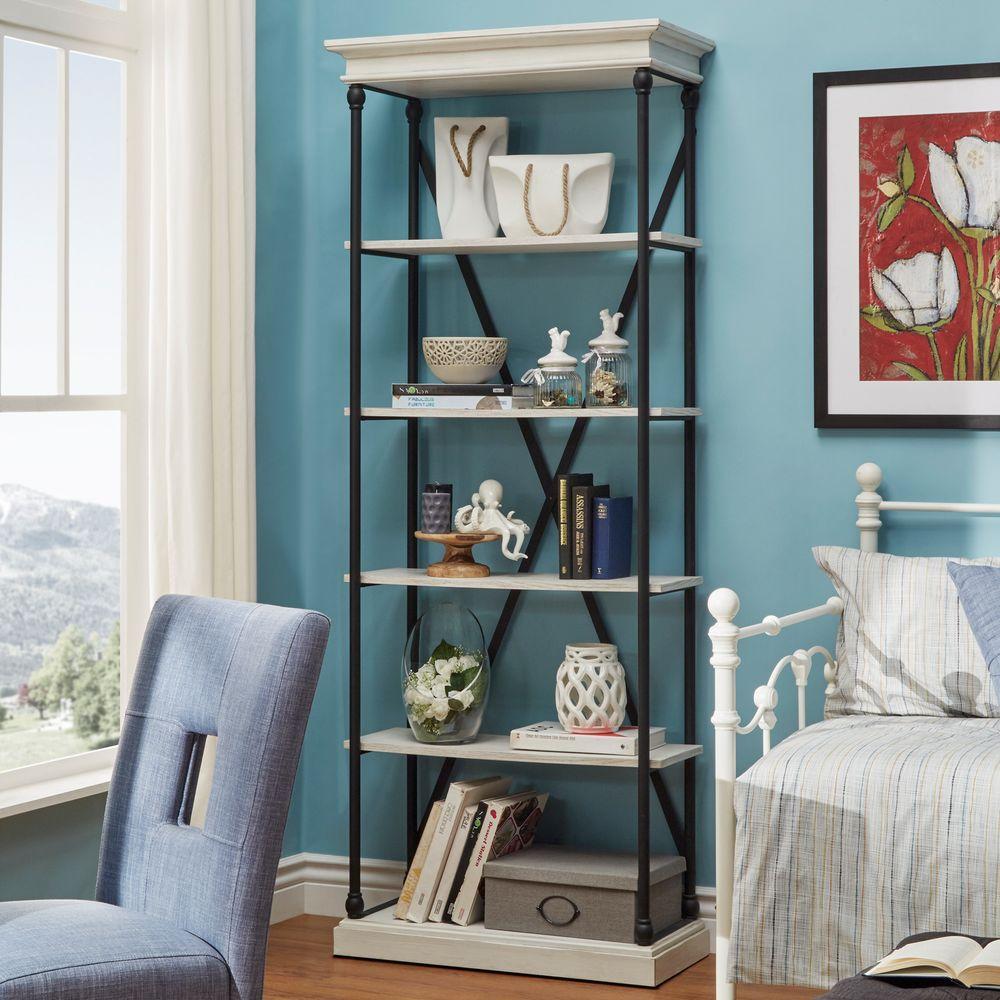 Manor Drive White Wash Open Bookcase