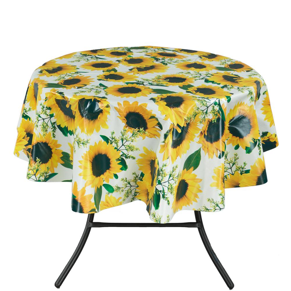 55 in. Round Indoor and Outdoor Sunflower Design Table Cl...