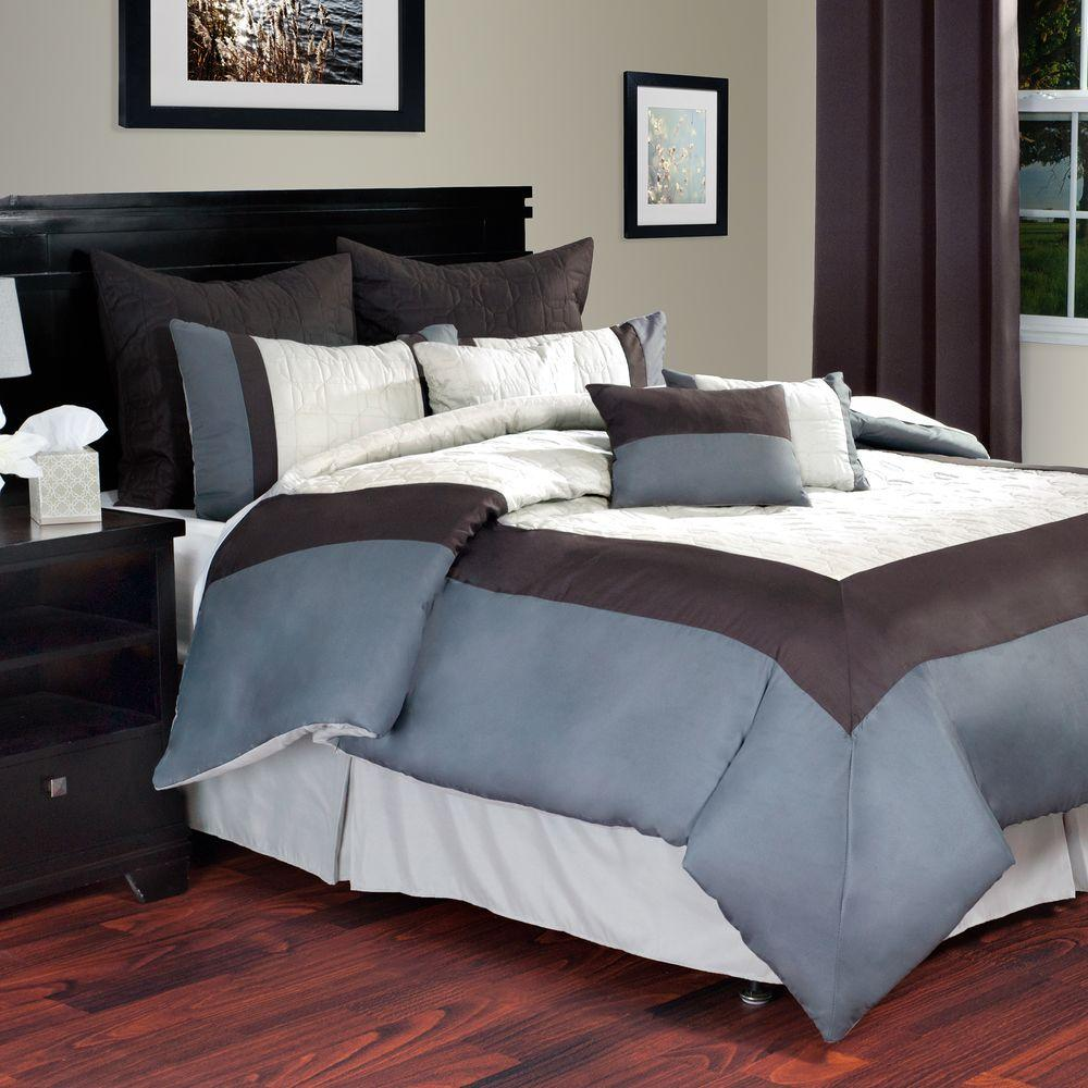 Lavish Home Hotel Ivory 9-Piece Queen Comforter Set