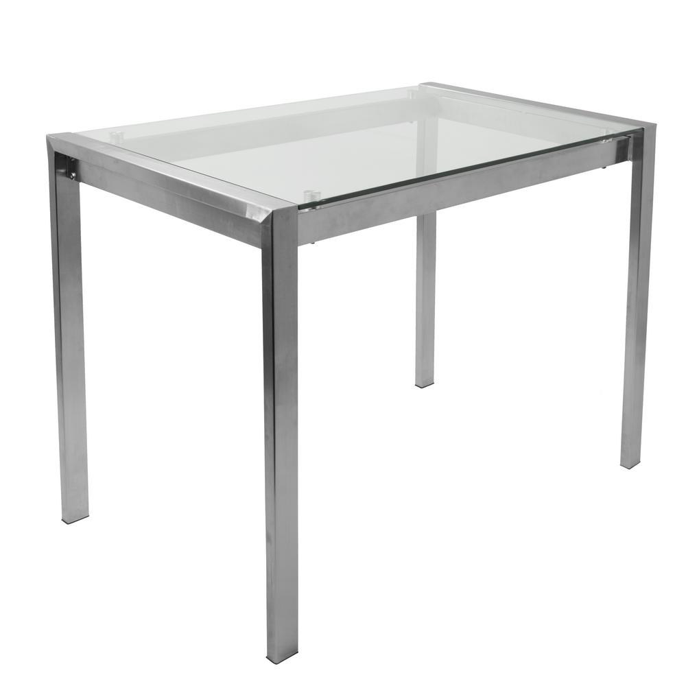 Lumisource Fuji Contemporary Stainless Steel And Glass Counter Table