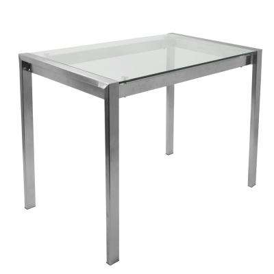 Fuji Contemporary Stainless Steel and Glass Counter Table
