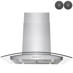 Convertible Stainless Steel Island Range Hood with Mesh Filter and Stainless Steel Decorative Panel Winflo 30 In