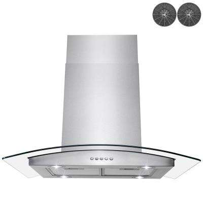 36 in. Convertible Kitchen Island Mount Range Hood in Stainless Steel with Tempered Glass, LED Lights and Carbon Filters