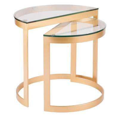 Demi Gold and Clear Glass Nesting Tables (Set of 2)