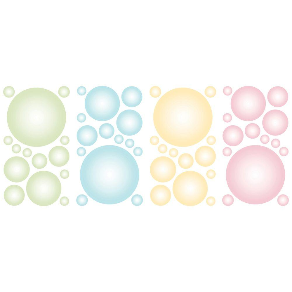 The Wallpaper Company 16.83 in. x 9.75 in. Pastel Pitter Patter Bubble Bop Applique