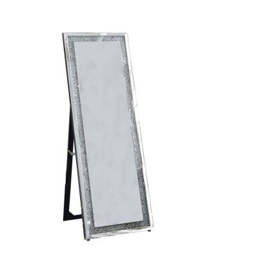 Oversized Silver Wood Modern Mirror (62.99 in. H X 2.28 in. W)
