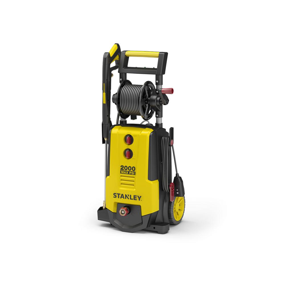 Stanley 2,000 PSI 1.4 GPM Electric Pressure Washer With 30 ft. Working Hose Reel, Detergent Tank, Spray Gun, 4 Nozzles and More