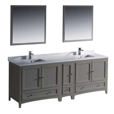 Warwick 84 in. Bathroom Double Vanity in Gray with Quartz Stone Vanity Top in White with White Basin and Mirrors