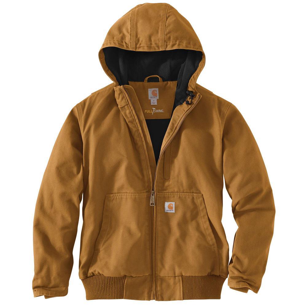 Men's Regular Large Carhartt Brown Cotton Full Swing Armstrong Active Jac