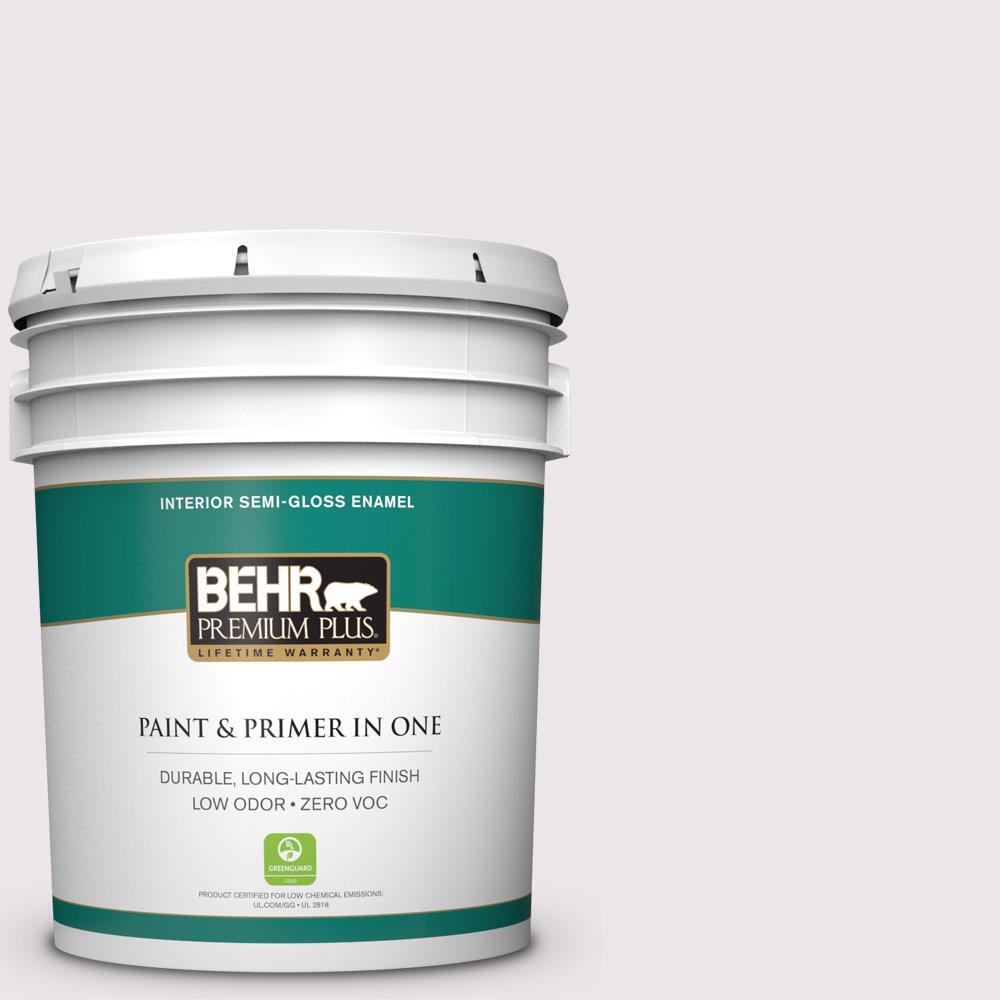 BEHR Premium Plus 5-gal. #670C-1 November Pink Zero VOC Semi-Gloss Enamel Interior Paint