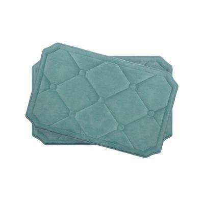 Gertie Marine Blue 17 in. x 24 in. Memory Foam 2-Piece Bath Mat Set