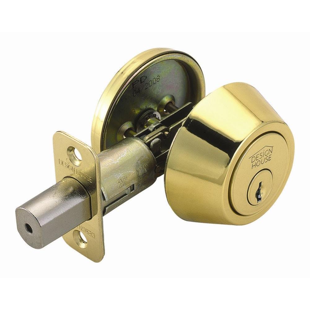 Single Cylinder Polished Brass Deadbolt