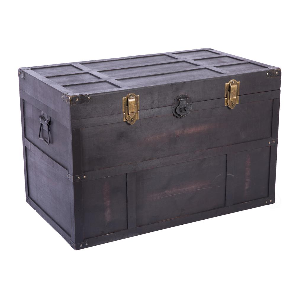 Vintiquewise Antique Style Large Dark Wooden Storage Trunk with Lockable  Latch-QI9L - The Home Depot