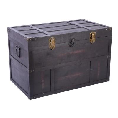 Antique Style Large Dark Wooden Storage Trunk with Lockable Latch