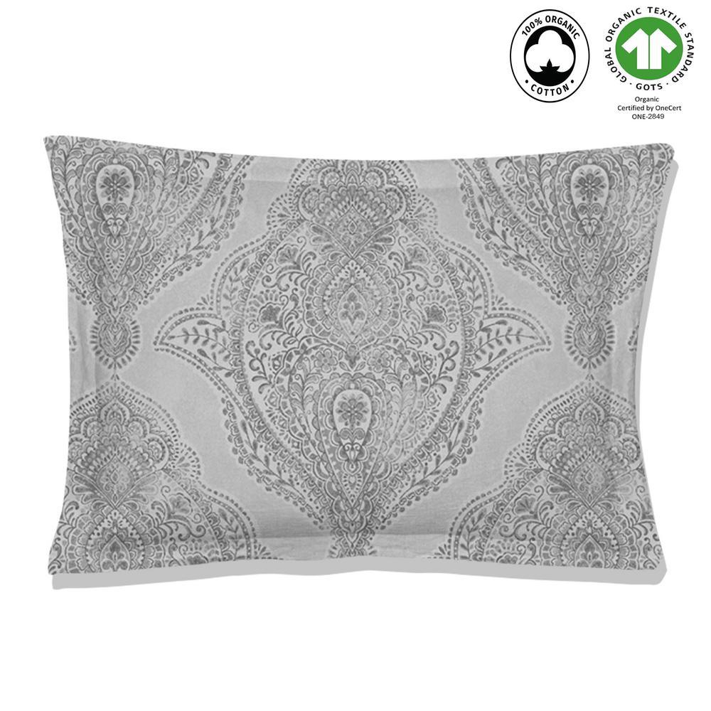 Genia Reversible Print Grey 100% Organic Cotton Queen Sham (Set of 2)