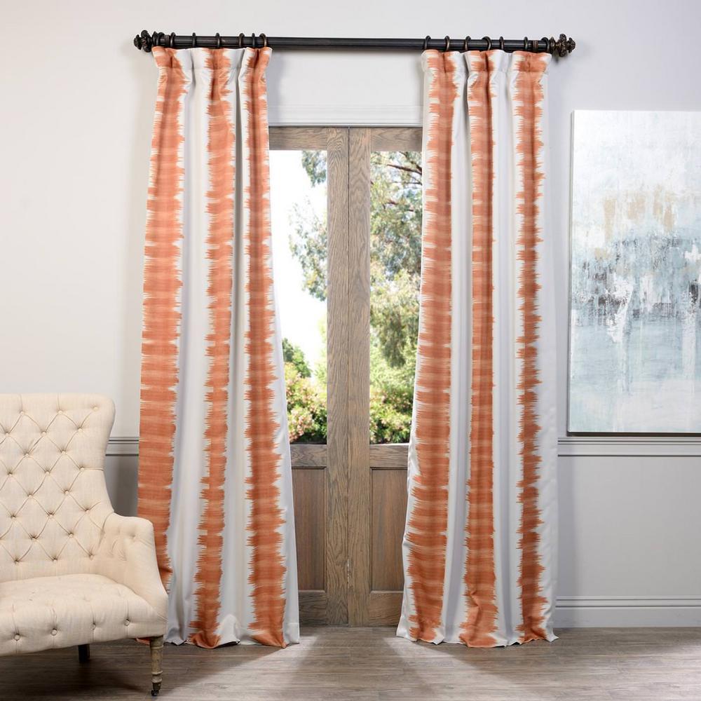 Semi Opaque Flambe Orange Blackout Curtain