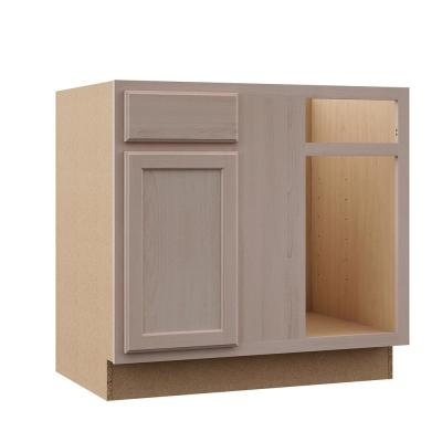 Hampton Assembled 36x34.5x24 in. Blind Base Corner Cabinet in Unfinished Beech