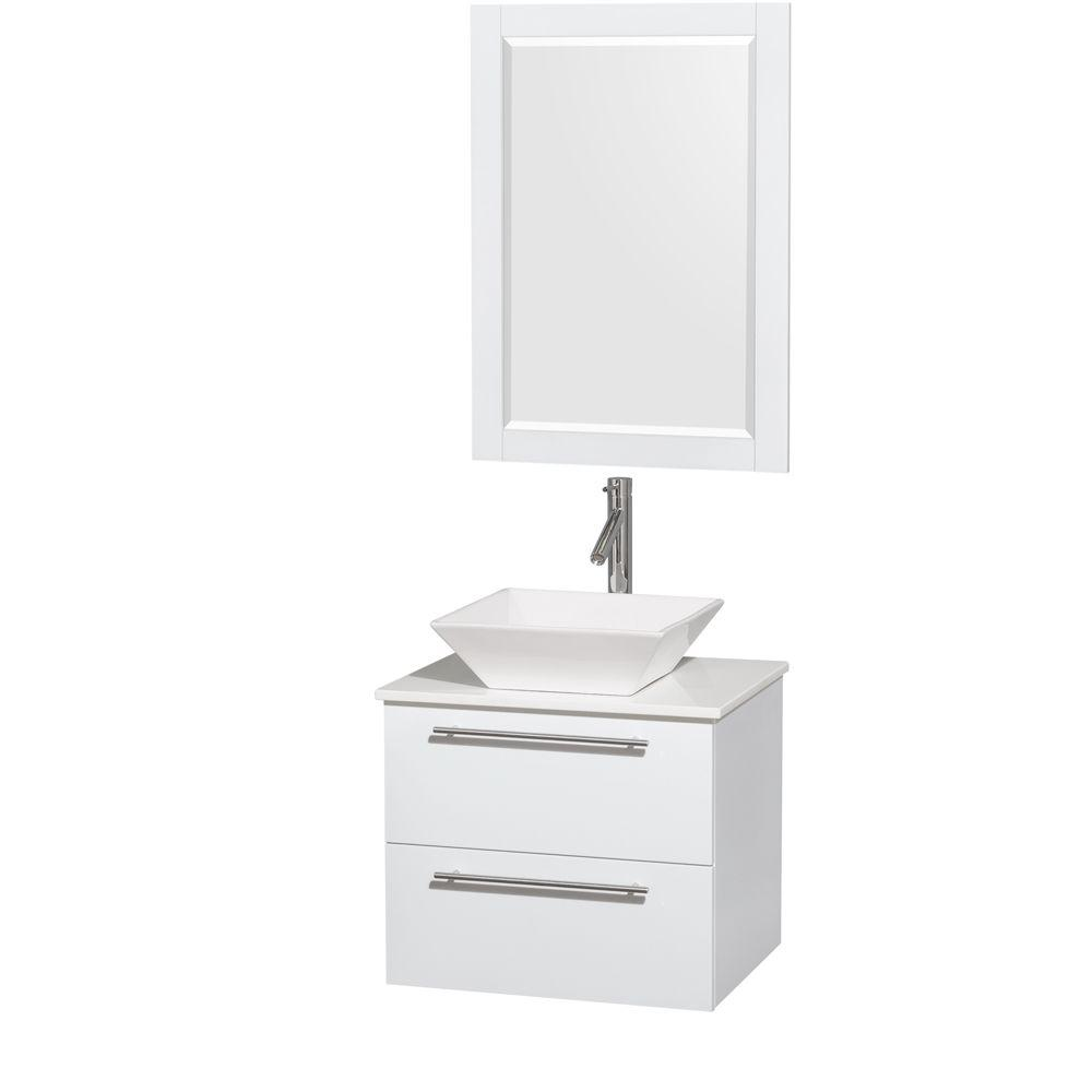 Wyndham Collection Amare 24 in. Vanity in Glossy White with Solid-Surface Vanity Top in White with White Porcelain Sink and 24 in. Mirror