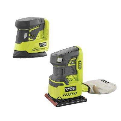 18-Volt ONE+ Lithium-Ion Cordless 1/4 Sheet Sander w/Dust Bag and Corner Cat Finish Sander (Tools Only)