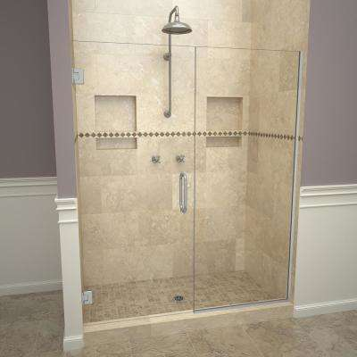 2000V Series 58 in. W x 72 in. H Semi-Frameless Pivot Shower Door in Brushed Nickel with Pull Handles and Clear Glass
