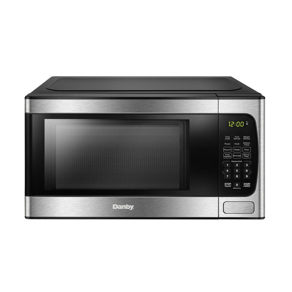 Danby 0 9 Cu Ft Countertop Microwave In Black And Stainless Dbmw0924bbs The Home Depot