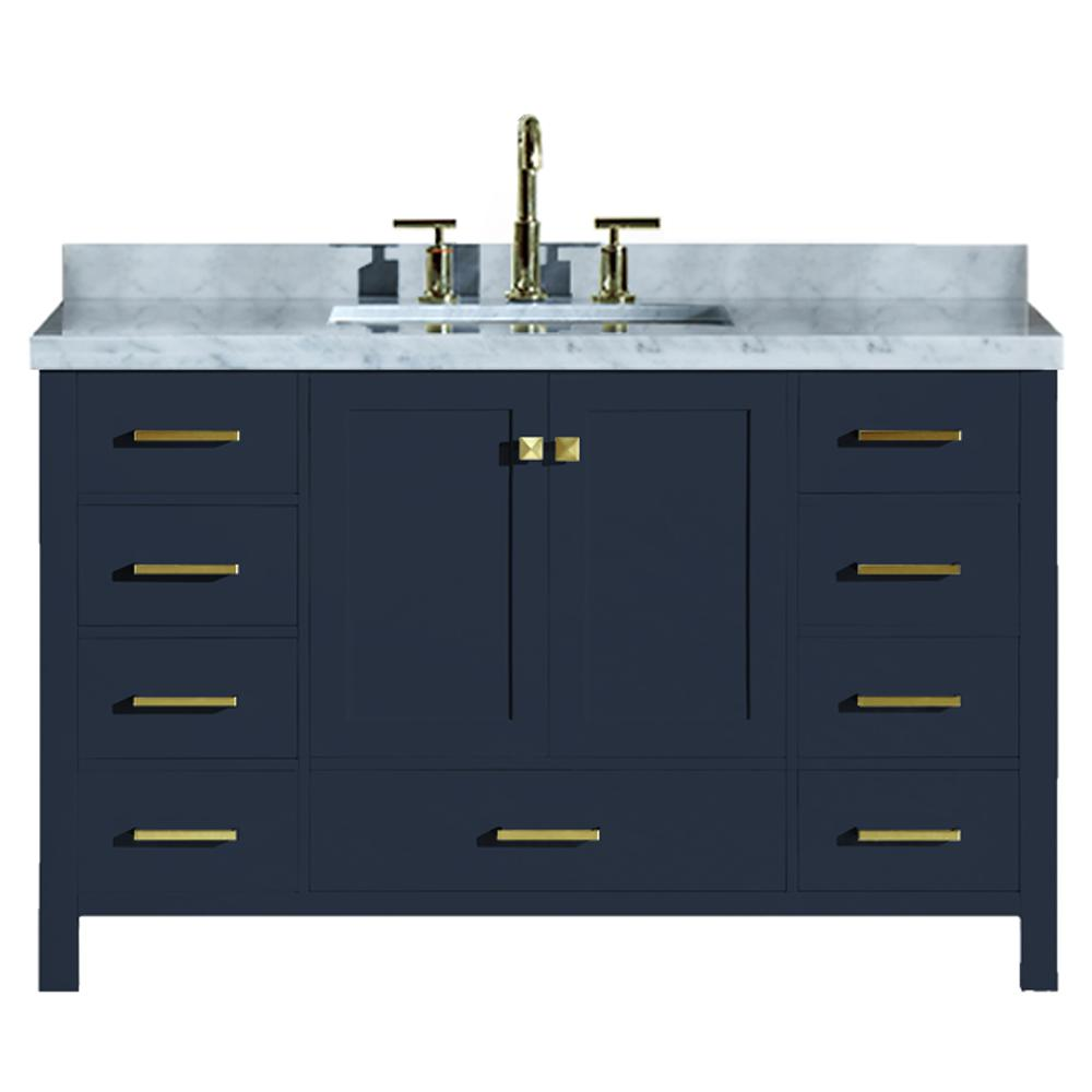 Ariel Cambridge 55 in. W x 22 in. D Vanity in Midnight Blue with Marble Vanity Top in Carrara White with White Basin