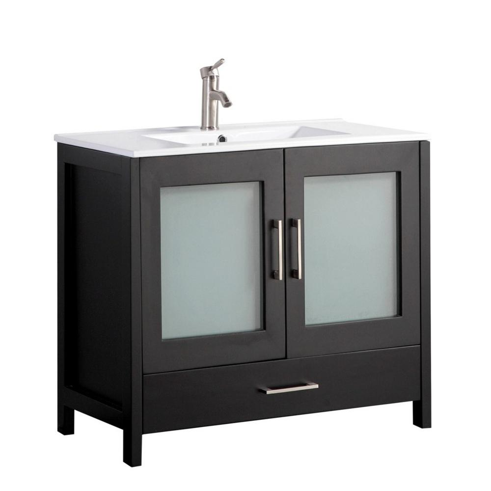 MTD Vanities Arezzo 48 in. W x 18 in. D x 36 in. H Vanity in Espresso with Porcelain Vanity Top in White with White Basin