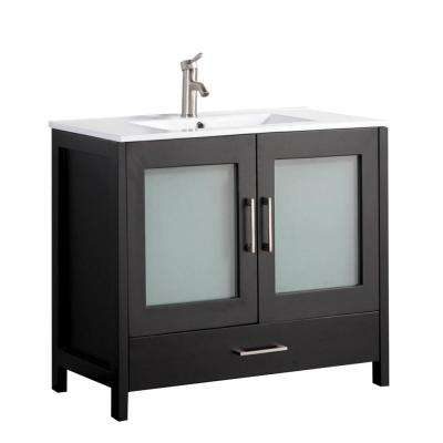 Arezzo 48 in. W x 18 in. D x 36 in. H Vanity in Espresso with Porcelain Vanity Top in White with White Basin