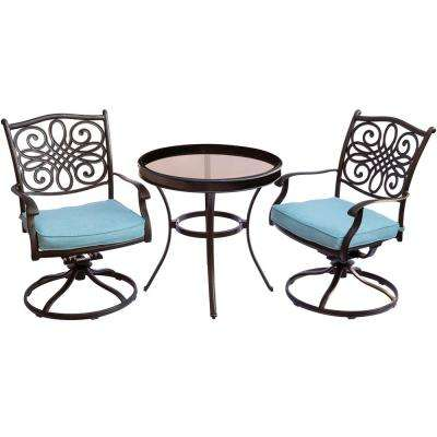 Traditions 3-Piece Aluminum Outdoor Bistro Set with Swivel Chairs with Blue Cushions