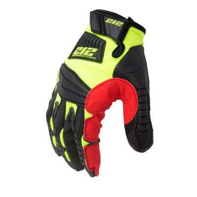Super Hi-Vis Impact Absorbent Work Safety Gloves, Red/Yellow