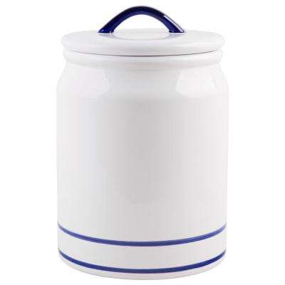 217 oz. Blue Striped Ceramic Canister