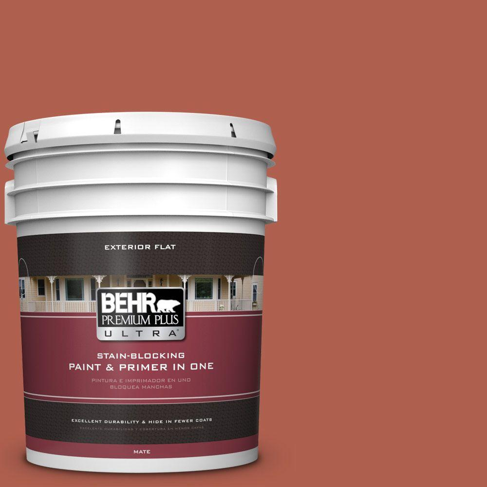 BEHR Premium Plus Ultra 5-gal. #BIC-46 Clay Red Flat Exterior Paint