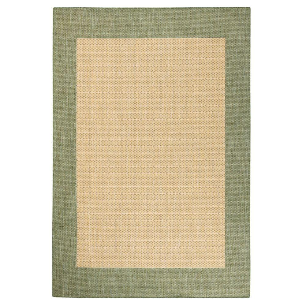 Home Decorators Collection Checkered Field Natural/Green 8 ft. 6 in. x 13 ft. Area Rug