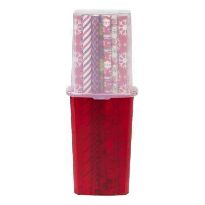 40 in. Wrapping Paper Storage Box in Red (2-Pack)