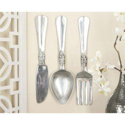 Aluminum Silver Fork, Knife and Spoon Wall Decor (Set of 3)