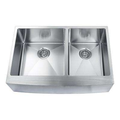 Hand Made Skirt Front R15 60/40 33 in. 0-Hole Undermount 304 Stainless Steel Double Bowl Kitchen Sink, 16-Gauge