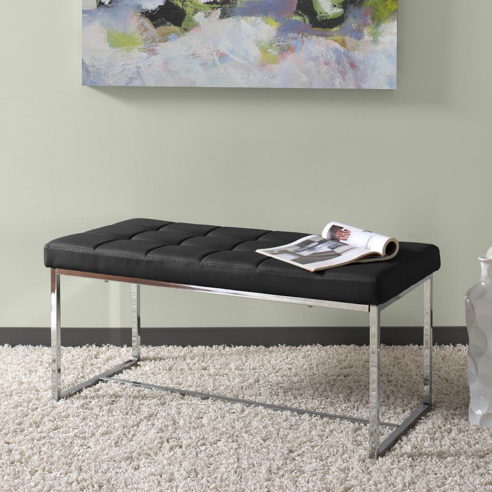 Huntington Modern Black Leatherette Bench with Chrome Base