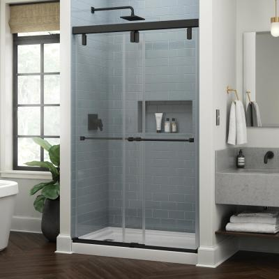 Everly 48 in. x 71-1/2 in. Mod Semi-Frameless Sliding Shower Door in Matte Black and 3/8 in. (10mm) Clear Glass