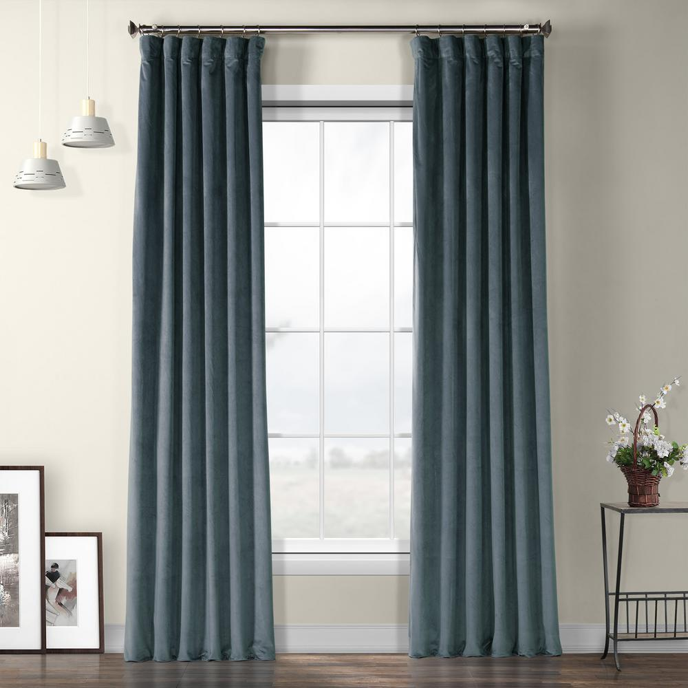 Exclusive Fabrics Furnishings London Blue Plush Velvet Curtain 50 In W X 84 L