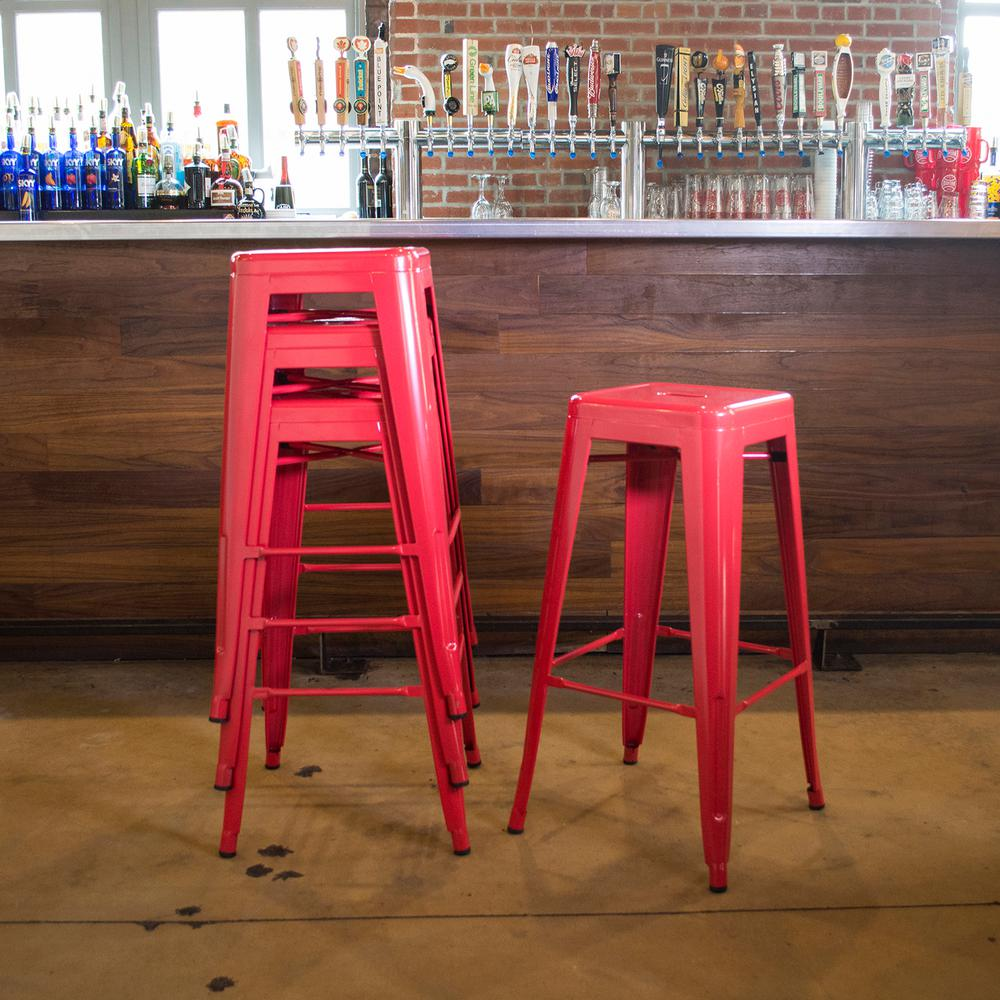 AmeriHome Loft Style 30 in. Stackable Metal Bar Stool in Red (Set of ...