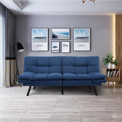 34 in. Blue Cotton 3-Seater Full Sleeper Armless Sofa Bed with Tapered Legs
