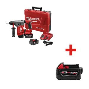 Milwaukee M18 FUEL 18-Volt Lithium-Ion Brushless 1-1/8 inch Cordless SDS-Plus Rotary Hammer with M18 18-Volt... by Milwaukee