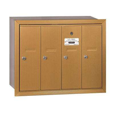 3500 Series Brass Recessed-Mounted Private Vertical Mailbox with 4 Doors