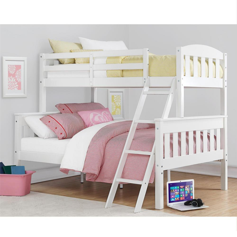 Dorel Living Airlie Twin Over Full White Wood Bunk Bed Fa7499w The