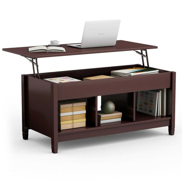 41 in. Brown Large Square Wood Coffee Table with Lift Top
