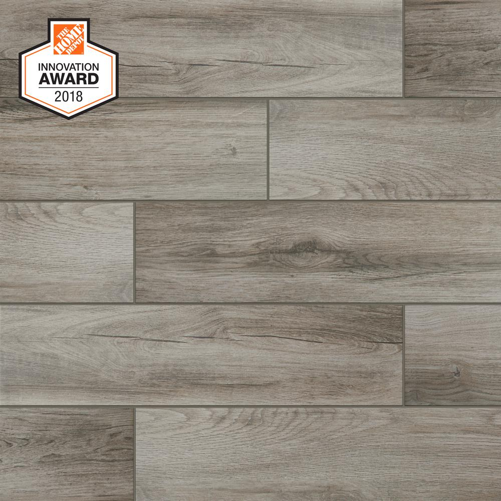 d4a52a07be714e LifeProof Shadow Wood 6 in. x 24 in. Porcelain Floor and Wall Tile ...