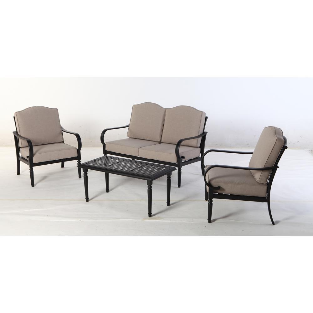 Laurel Oaks 4-Piece Steel Patio Conversation Set with Putty Cushions